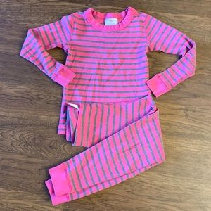 Hanna Andersson Pink and Grey Striped Long Pajamas